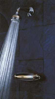 Aqualisa AQUARIAN finished in chrome/gold with fixed shower head