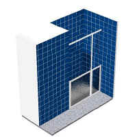 Alcove shower with half height fixed panel and single pivot door
