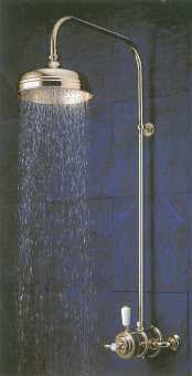Aqualisa Aquatique exposed shower valve in gold with fixed shower head