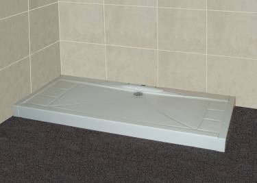 Low profile shower tray with above ground waste - ideal for solid floors
