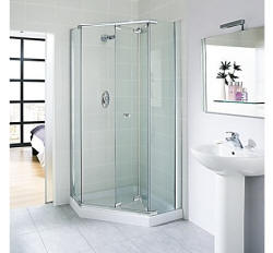 Pentangle shower enclosure with bi-fold doors