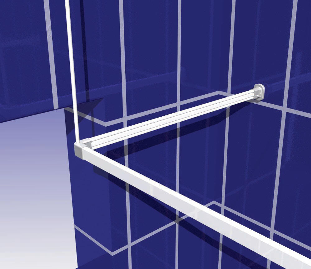 A window bridging kit to solve the problem where a shower curatin rail meets a window void.