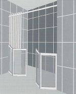 FREEDOM air assisted half height bi fold shower doors for an alcove - Option G