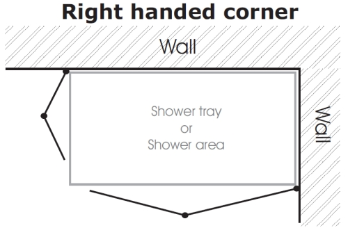 Illustration of a Right Hand shower enclosure