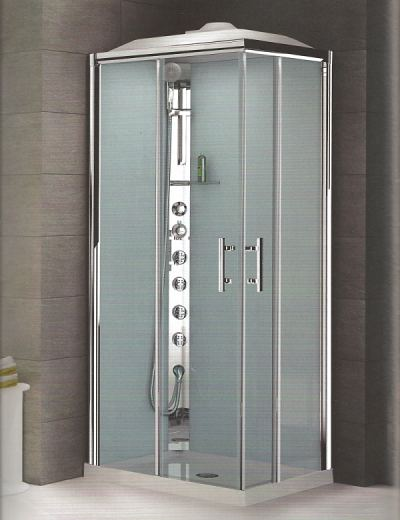 Novellini complete shower cubicle. 900 x 700 with hydro massage and domed roof ontaining shower head