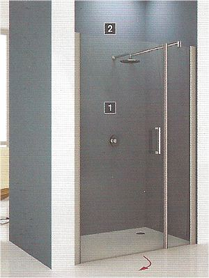 Novellini Giada extra wide shower alcove doors and inline panels