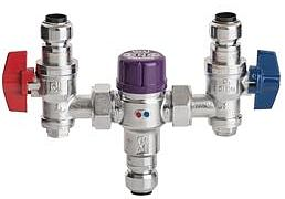 Yorkshire Pegler Prestex inline thermostatic controller TX405UA TMV3/2 with angle valves and push fit connectors
